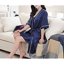 OGTOP Hombre Mujer De Verano De Manga Corta Batas Pijamas De Seda Atractivos De La Honda Camisón Camisón Femenino De Dos Piezas,3-L