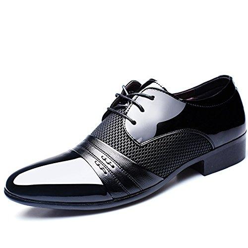 BAINASIQI Herrenschuhe Herren Schnürhalbschuhe Elegant Businessschuhe Lederschuhe Hochzeit Schuhe (EU 46, Schwarz) (Schwarz 46 Leder)