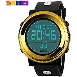 Outdoor fashion sports waterproof watch sports watches mountain climbing scratch Japanese electronic movement table male watch 50m waterwroof sport watch(Golden)