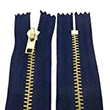 10 - 25 cm Metall Reißverschluss 4 mm Zipper nicht teilbar für Jeans Leder Taschen Geldbörse Hose Dunkelblau 10 cm