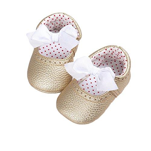 Fire Frog  Baby Ballet Shoes, Baby Mädchen Lauflernschuhe Gold
