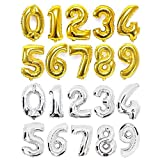 Ponmoo Or Argent Rose Gold Ballons Chiffre 0 1 2 3 4 5 6 7 8 9, 10 11 12 13 14 15 16 17 18 19, 20 21 22 23 24 25 26 27 2l 22 23 24 25 26 27 28 29, 30 40 50 60 Ballons Anniversaire Geant Chiffre
