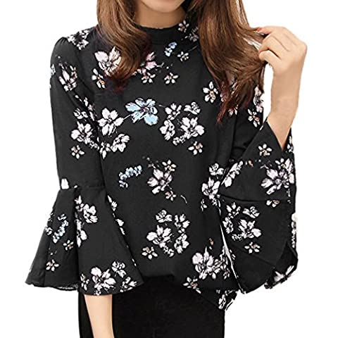 DAYLIN 1PC Autumn Women Chiffon Blouse Floral Tops Flare sleeve Fashion Shirt (L)