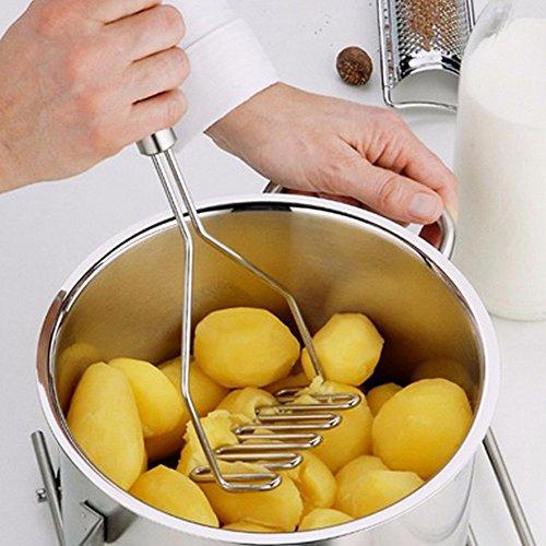 Kentop 1 Pieza Prensa de Patata para puré de Papas Machacador de Patatas en Material de Acero Inoxidable