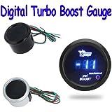 quickcor (TM) Digital Turbo Boost Gauge Medidor con sensor para Auto Coche 52mm 2in LCD -14~ 29PSI Luz de advertencia Negro o plateado