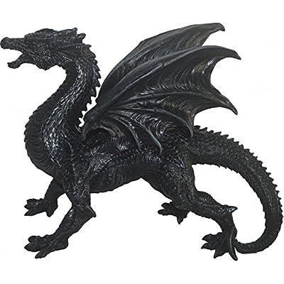 Ornament Figure - Fantasy Standing Black Dragon - Dragon Watcher 31cm