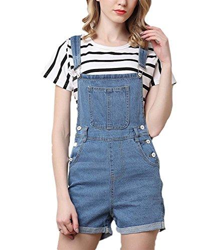 Damen Oversize Latzhose Shorts Elegante Vintage Jeansshort Mädchen Mode Jeans Festlich Bekleidung Jeans Sommerhosen Shorts (Color : Hellblau4, Size : 4XL) -