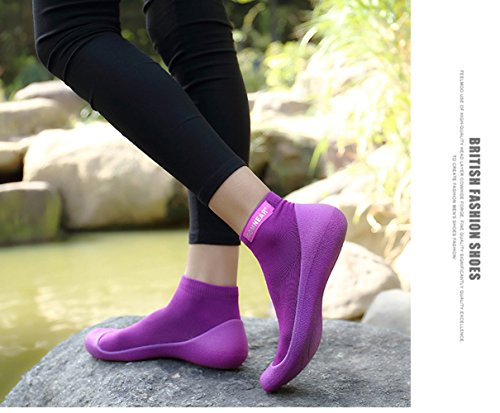 GOMNEAR Athletic Chaussettes Sneaker Chaussures Pour Hommes et Femmes Noir Léger Respirant en Plein Air Casual Sport Cheville Chaussures de Course Violet