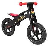 BIKESTAR® Premium Kinderlaufrad für mutige Entdecker ab 3 Jahren ★ 12er Natur Holz Edition ★ Teuflisch Schwarzes Piraten Design