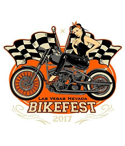 Bedrucktes Herren Biker T-Shirt Las Vegas Bikefest 2017 Weiß