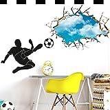 Wandora W1466 Wandtattoo Wandaufkleber Wandsticker Fußballspieler mit Ball Schuss durch die Wand Kinderzimmer