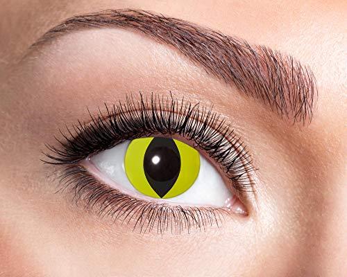 Kontaktlinsen 1-Monatslinsen UV Halloween Motiv Qualitätsprodukt (gelb Katzenauge) ()