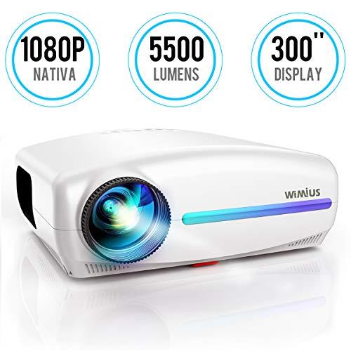 Videoproiettore,WiMiUS 5500 Lumen Proiettore Nativa 1920 x 1080P LED Full HD Supporto Dolby 4K Videoproiettore 4D Keystone Correzione ±50°Per Home Theater,PS4,Presentazione PPT,Con VGA HDMI AV USB