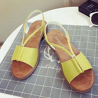 CH&TOU Damen-Sandalen-Lässig-PU-Flacher Absatz-Komfort Leuchtende Sohlen-Schwarz Gelb Weiß Yellow