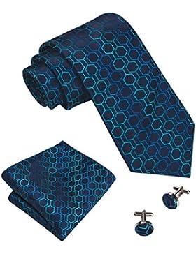 Barry.Wang novità cravatta di seta set Hanky gemelli per uomo in tessuto