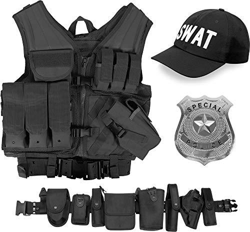 normani SWAT Kostüm bestehend aus taktischer Weste, Einsatz-Gürtel, Cap, US Abzeichen OneSize und Unisex
