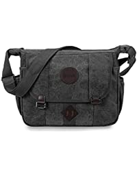 Messenger Bag, GSTEK Retro Canvas Messenger Bags Casual Shoulder Pack Daypack Sling Bag for Men and Women Sports, Work, School, Travel