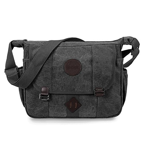 Messenger Bag, GSTEK Retro Canvas Messenger Bags Casual Shoulder Pack Daypack Sling Bag for Men and Women Sports, Work, School, Travel - Black