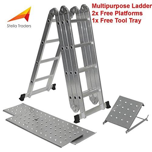 Escalera plegable multiusos 14-en-1, con 2plataformas y 1bandeja para herramientas. Fabricado de acuerdo a la norma EN131 parte 1 y parte 2 de Stella 4,7m