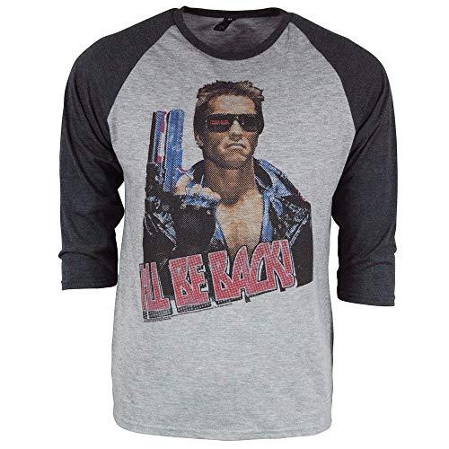 Herren Offiziell The Terminator I'll Be Back 3/4 Hülse Raglan T-Shirt Grau meliert Mittel - Brust 38-40 Zoll (96.5-101.5cm) Heidekraut Grau