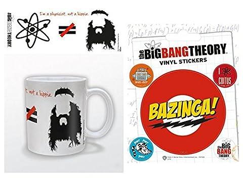Set: The Big Bang Theory, Je Suis Physicien Pas Hippie, Équasion Tasse À Café Mug (9x8 cm) Et 1 The Big Bang Theory, Poster-Sticker Autocollant (12x10 cm)