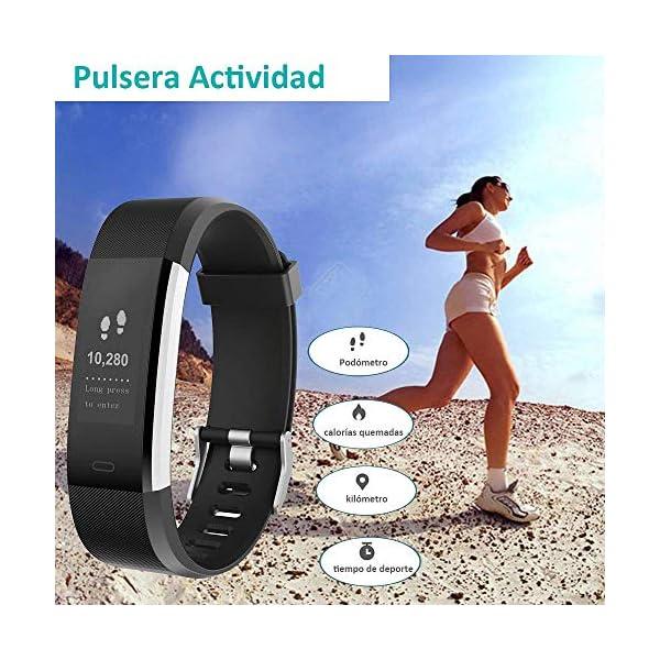 YAMAY Pulsera Actividad con Pulsómetro Mujer Hombre, Monitor de Actividad Deportiva, Ritmo Cardíaco, Impermeable IP67… 4