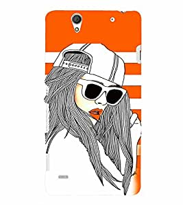 PrintVisa Stylish Cool Girl Fashion Cool 3D Hard Polycarbonate Designer Back Case Cover for Sony Xperia C4 Dual