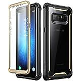 Samsung Galaxy Note 8 Hülle, i-Blason [Ares Serie] Ganzkörper Schutzhülle Stoßfest Handycover Rückseite Transparent Hülle mit eingebautem Displayschutz für Samsung Galaxy Note 8 (2017 Ausgabe) (Gold)