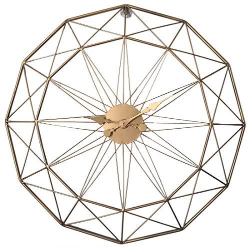 DOSNVG Große Wall-Uhr, 50cm XXXL Stille Eiserne Mauer Uhr, Dekorative Vintage Wall Uhr für Küchen, Schlafzimmer, Büros,Gold