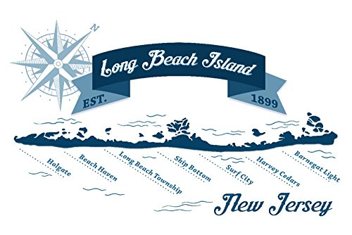 Long Beach Island, New Jersey-Karte (Marineblau), Papier, multi, 24 x 36 Giclee Print - Long Beach Island, New Jersey