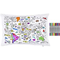 Colour & Learn world map cotton pillowcase with wash-out fabric pens