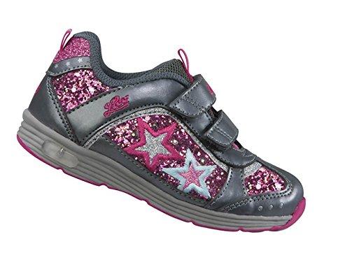 Lico Glitzer V Blinky schwarz/lila/pink Freizeitschuh Mädchen Klettverschluss Blinksystem Grau/Pink
