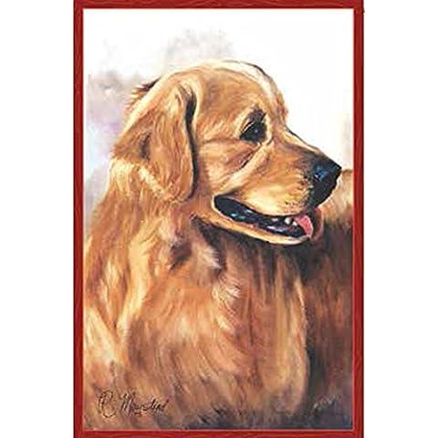 Bandiera del cane. Golden Retriever. Sfondo rosso