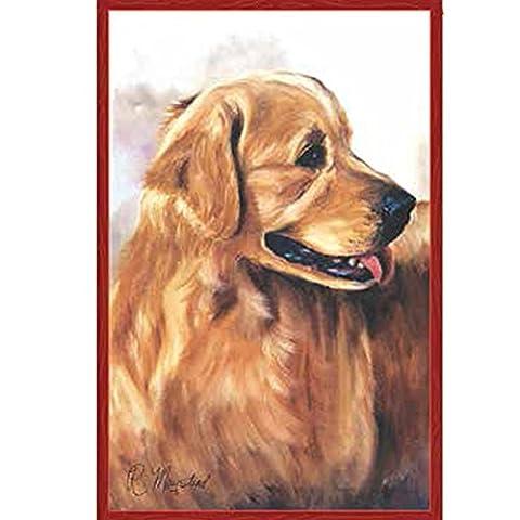 Hund Flagge. Golden Retriever. Rot Hintergrund