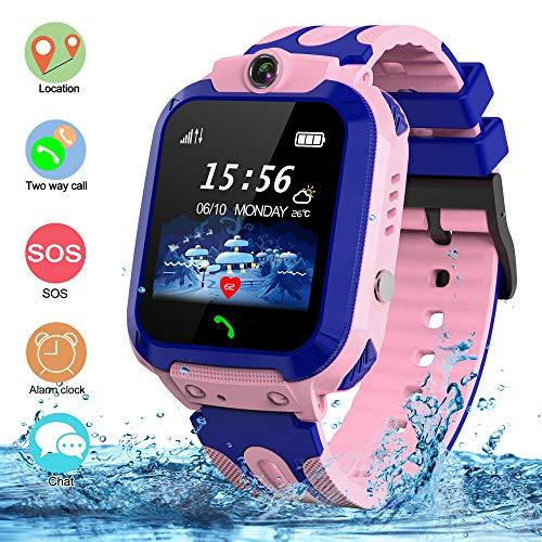 Kinder Smartwatch Wasserdichte Smart Watch für Kinder Telefon Kinder Uhr Tracker Kids mit SOS Voice Chat für Junge Mädchen Geburtstagsgeschenk