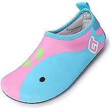 SUADEX Niños Niña Zapatos de Agua Descalzo Barefoot Respirable Zapatos de  Playa Aire Libre Calcetines de 5314bb58ed1