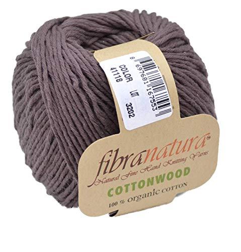 Gründl Fibranatura Cottonwood Fb. 41118 - Schokolade, 100% Organic Cotton Wolle, Baumwollgarn zum Häkeln und Stricken, Schulgarn Topflappengarn -