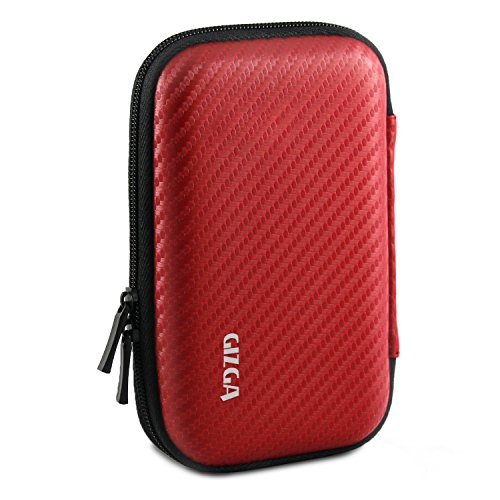 GIZGA Branded 2.5 inch Carbon Fiber Mesh Series - Color: Red; External Portable Hard Disk Drive Carry Cover Protector/ Pouch / Bag/HDD Case