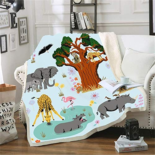 LKrou Cartoon Tier Fleece Decke Für Kid Waldelefanten Fox Grove 3D Print Weiche Sherpa Werfen 150X200cm -