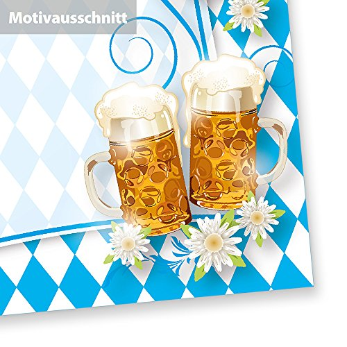 Briefpapier Oktoberfest (100 Stück) mit Rautenmuster Bayern, Bier und Brezeln für Einladung oder Speisekarten zum bayrischen Fest