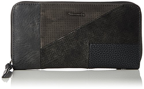 Tamaris Damen Britta Big Zip Around Wallet Geldbörse, Grau (Graphite Comb), 2x10x19.5 cm (Zip Wallet Logo Around)