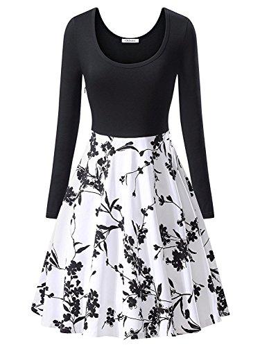 OhSeaya Damen Einfache Beiläufiges Langarm Basic Kleider Falten Stretch Freizeitkleid Knielang BKS558-BWXL (Flip Flop Kleid)