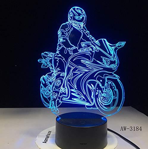 (Motorradfahrer Modell 3D Illusion Led Lampe Bunte Touch Nightlight Flash Beleuchtung Glow in the Dark Luminous Motor Toy)