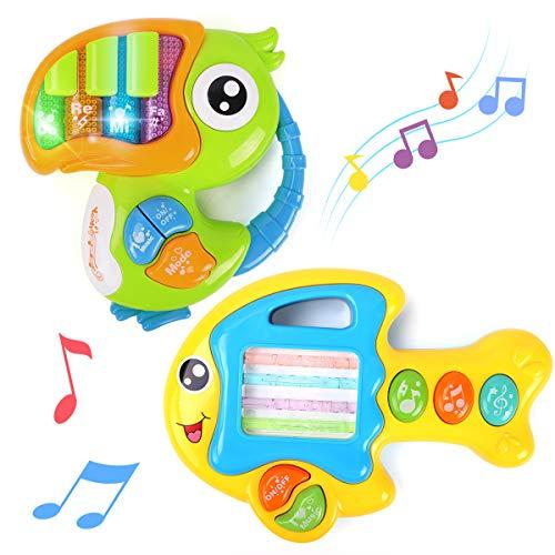 GILOBABY Baby Musik spielzeugs,Lernen und Entwicklung von Kleinkinder Spielzeug,Tierklavier das Tastatur tragbares Musikinstrument ,Geschenk für Jungen und Mädchen.(2 Musikklavier)