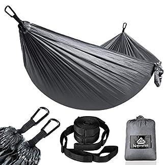NatureFun Hamaca ultraligera para camping| 300kg de capacidad de carga, (275 x 140 cm) Estilo paracaídas de Nylon, transpirable y de secado rápido. 2 mosquetones premium, 2 eslingas de nylon incluidas