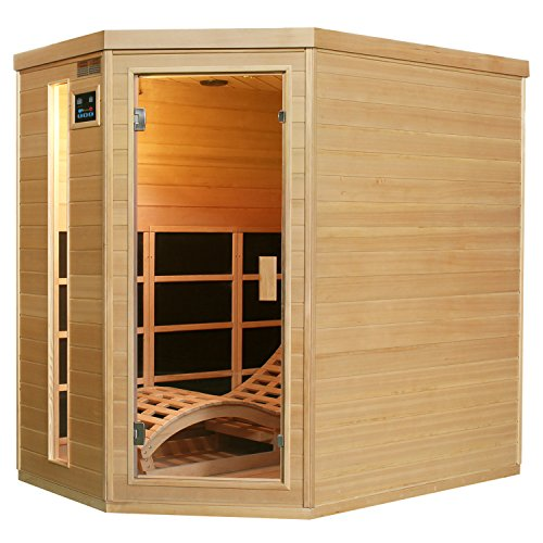Artsauna Infrarotkabine Kolding mit Triplex-Heizsystem & Liege | 2 Personen Kabine aus Hemlock Holz | 130 x 190 cm | Infrarotsauna Infrarot Wärmekabine