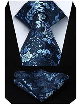 HISDERN Extra largo Floral Paisley lazo del panuelo Hombres Corbata & Plaza de bolsillo Conjunto