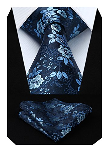 HISDERN Extra largo Floral Paisley lazo del panuelo Hombres Corbata & Plaza de bolsillo Conjunto azul