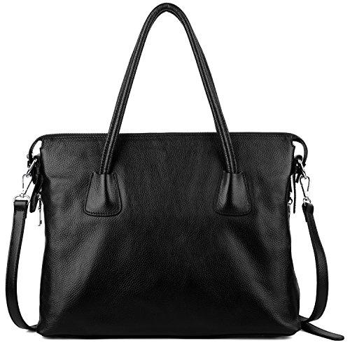 Yaluxe Damen Vintage Style Soft Leder Satchel Purse Shopper gross Schultertasche passt 13 Zoll Laptop schwarz