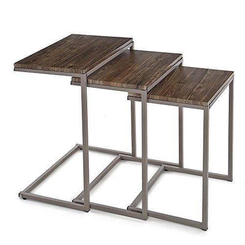 IKAYAA 3er Set Beistelltisch mit Metall Rahmen